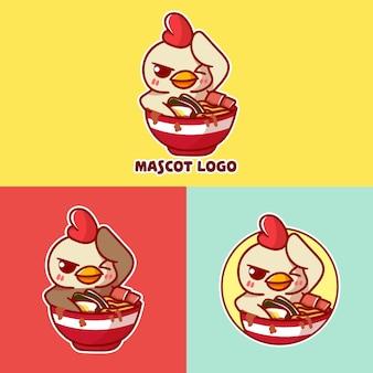 Conjunto de logotipo de mascote de ramen de frango bonito com apreciação opcional.