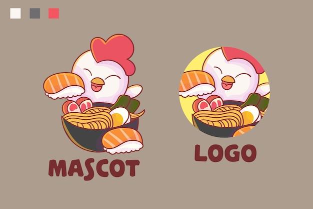 Conjunto de logotipo de mascote de ramen e sushi de frango fofo com aparência opcional.