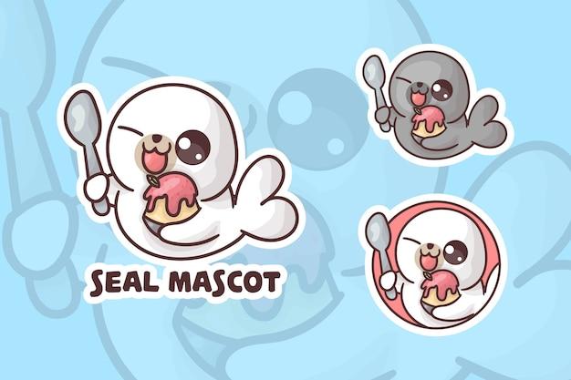 Conjunto de logotipo de mascote de selo de sorvete fofo com aparência opcional.