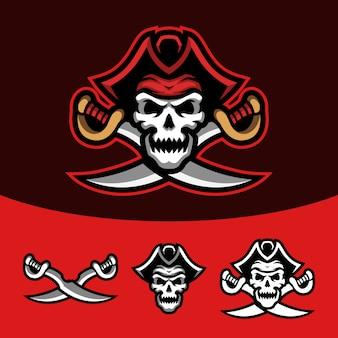 Conjunto de logotipo de mascote esport de pirata de caveira vermelha