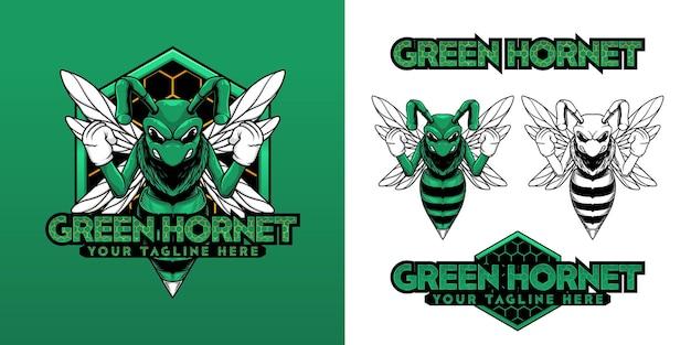 Conjunto de logotipo de mascote vetor de vespa verde