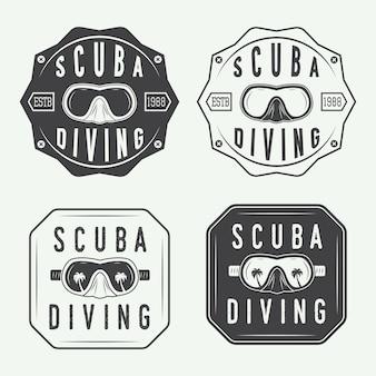 Conjunto de logotipo de mergulho, rótulos