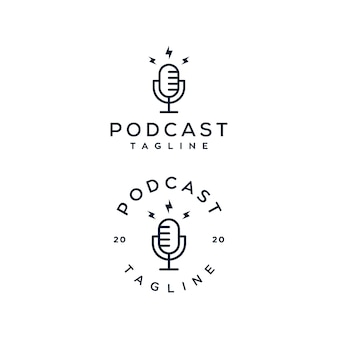 Conjunto de logotipo de microfone de podcast