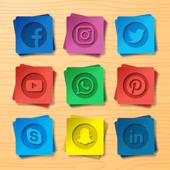 Conjunto de logotipo de mídia social em estilo de corte de papel