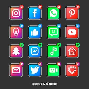 Conjunto de logotipo de mídia social gradiente