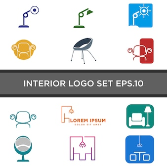 Conjunto de logotipo de mobiliário interior