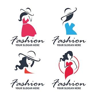 Conjunto de logotipo de moda e beleza e coleção de emblemas