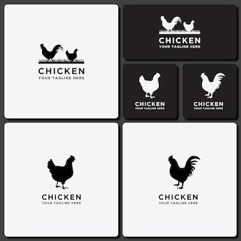 Conjunto de logotipo de modelo coleção de design de frango de gado