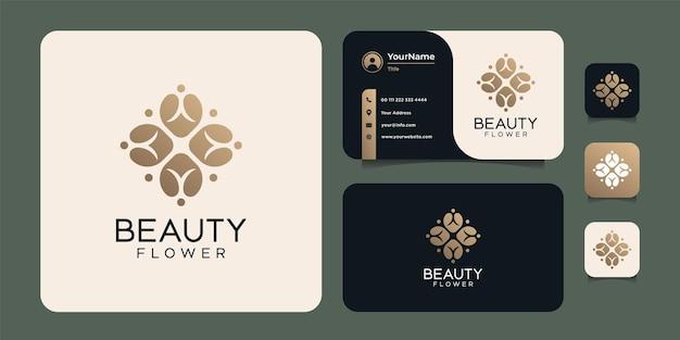 Conjunto de logotipo de modelo de flor feminina e moderna de beleza desenhada à mão Vetor Premium