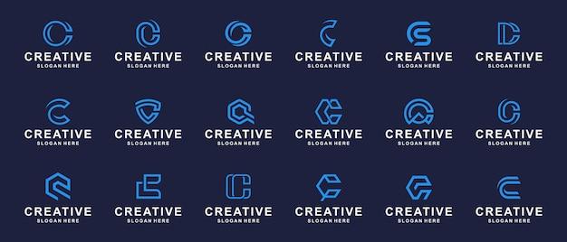 Conjunto de logotipo de monograma abstrato criativo