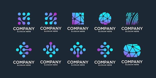 Conjunto de logotipo de monograma com símbolo de chip de dna de átomo de molécula de biotecnologia universal conceito de ponto