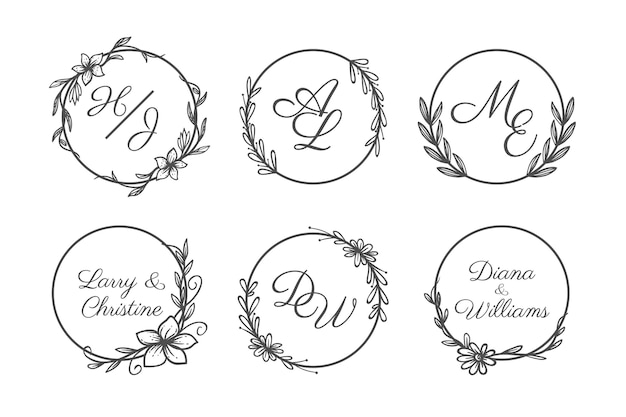 Conjunto de logotipo de monograma de casamento desenhado à mão