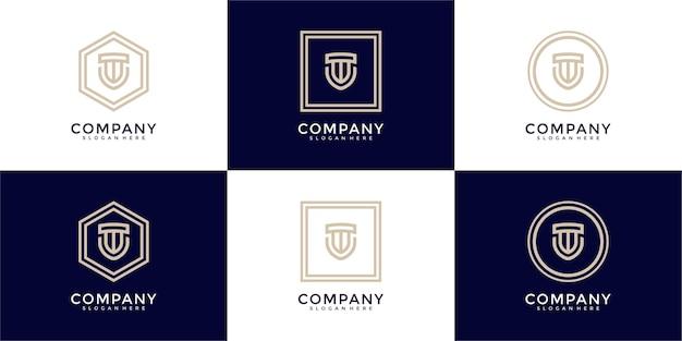 Conjunto de logotipo de monograma de escudo criativo