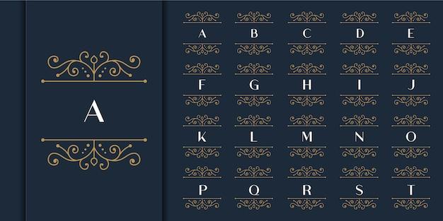 Conjunto de logotipo de monograma de ornamento de luxo de letra inicial. anel de coroa decorativo set.luxury modelo de logotipo de alfabeto inicial de prata.