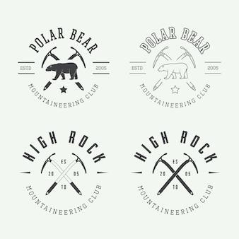 Conjunto de logotipo de montanhismo