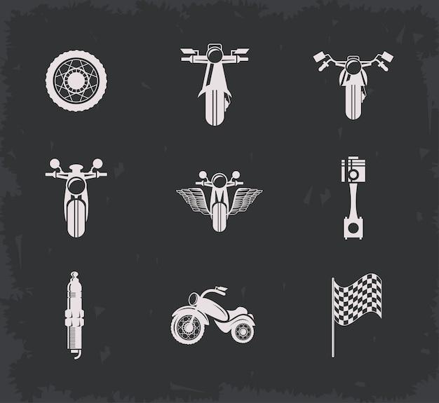 Conjunto de logotipo de motociclista