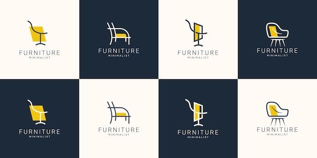 Conjunto de logotipo de móveis minimalistas com cadeira para loja