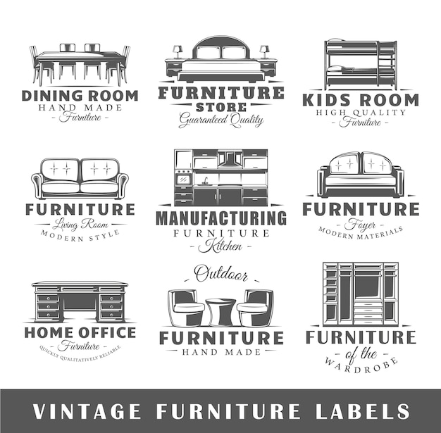 Conjunto de logotipo de móveis vintage