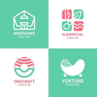 Conjunto de logotipo de móveis