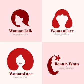 Conjunto de logotipo de mulher plana