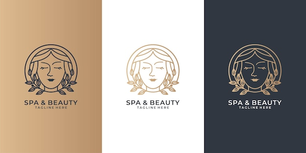Conjunto de logotipo de mulheres de beleza e spa