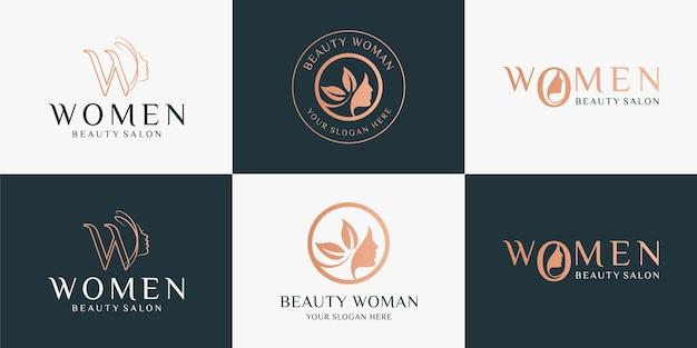 Conjunto de logotipo de mulheres de beleza usando marca de palavra e logotipo vintage