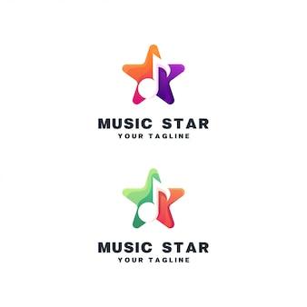 Conjunto de logotipo de música estrela