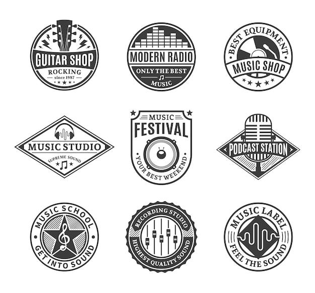 Conjunto de logotipo de música vetorial.