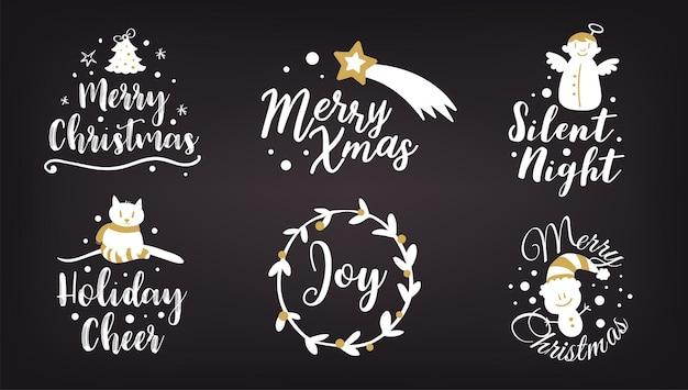 Conjunto de logotipo de natal ou insígnia feliz natal e feliz ano novo
