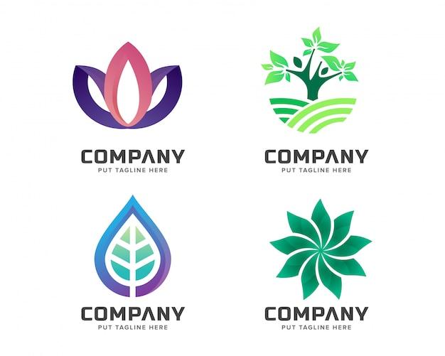 Conjunto de logotipo de natureza criativa