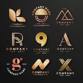 Conjunto de logotipo de negócios de luxo Vetor grátis