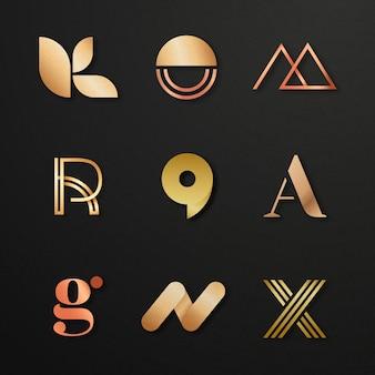 Conjunto de logotipo de negócios de luxo