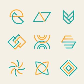 Conjunto de logotipo de negócios laranja