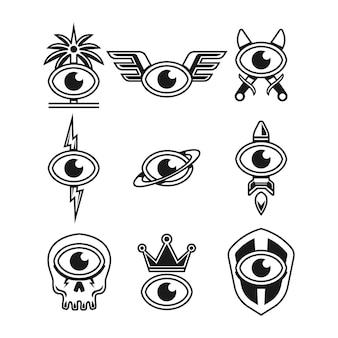 Conjunto de logotipo de olho