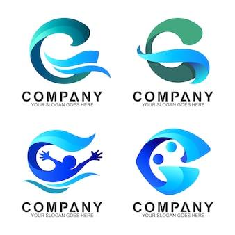 Conjunto de logotipo de onda abstrata