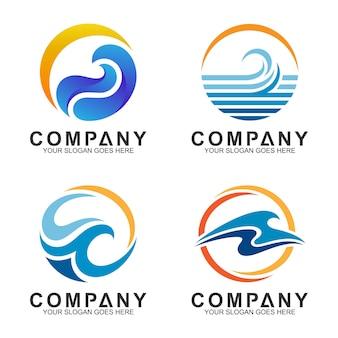 Conjunto de logotipo de onda e sol em forma de círculo
