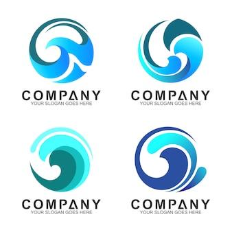 Conjunto de logotipo de onda em forma de círculo