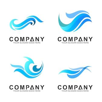 Conjunto de logotipo de onda simples