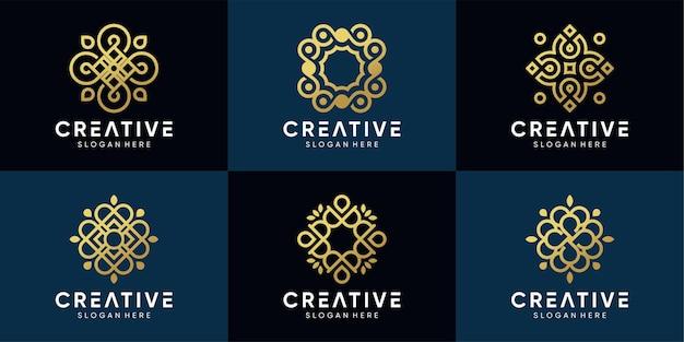 Conjunto de logotipo de ornamento com cor de estilo dourado