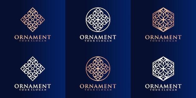 Conjunto de logotipo de ornamento da natureza