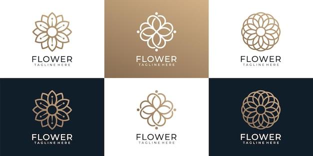 Conjunto de logotipo de ornamento de moda minimalista flor spa ioga