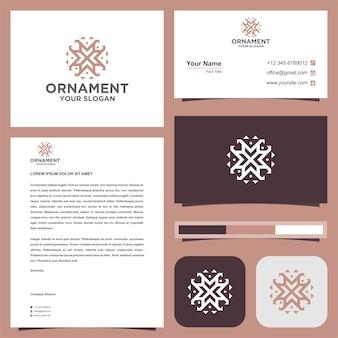 Conjunto de logotipo de ornamento e cartão de visita