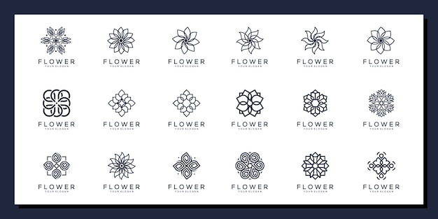 Conjunto de logotipo de ornamento floral