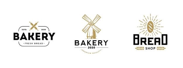 Conjunto de logotipo de padaria. ilustração vetorial