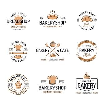 Conjunto de logotipo de padaria.