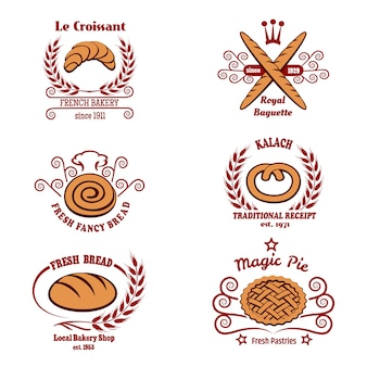 Conjunto de logotipo de pão de padaria.