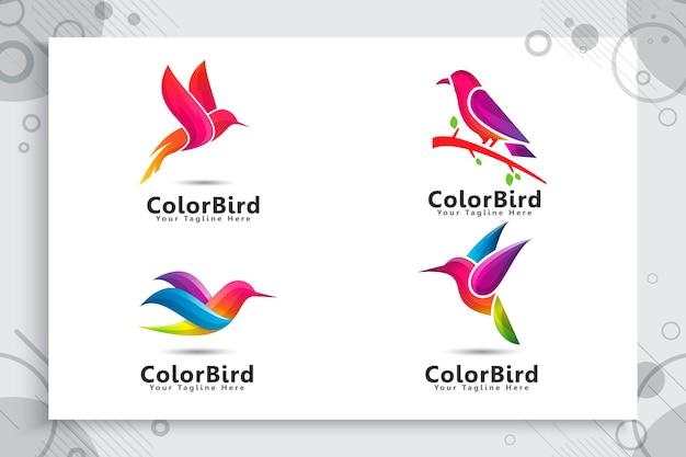 Conjunto de logotipo de pássaro colorido