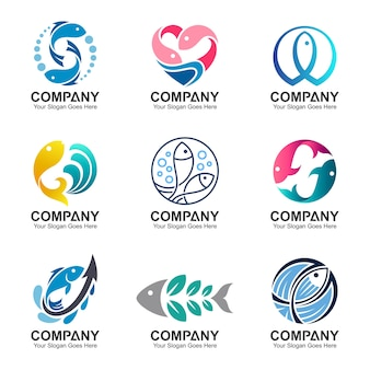 Conjunto de logotipo de peixe, coleção de vetores de pesca, modelo de design de peixe