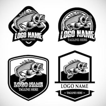 Conjunto de logotipo de pesca monocromático