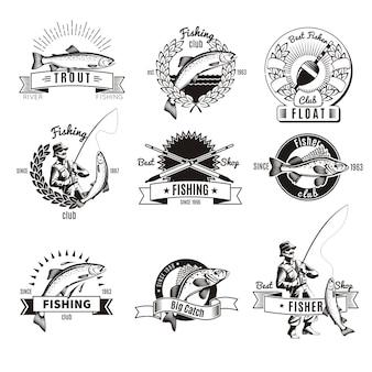 Conjunto de logotipo de pesca vintage